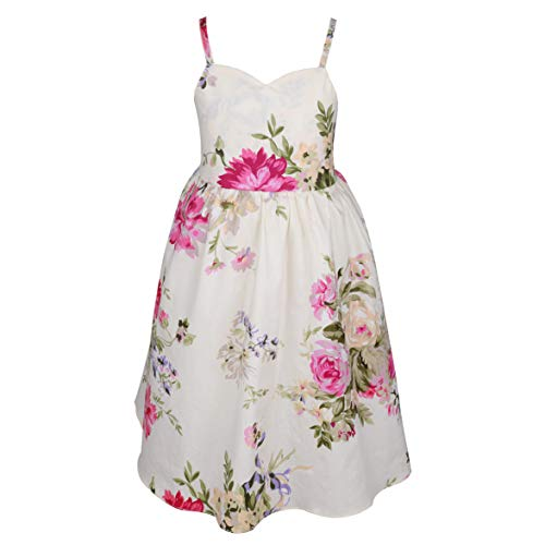 Flofallzique Vintage Girls Easter Dress Floral Backless Wedding Party Sundress for 1-12 Years Old (12 Year Old, Cream) ()