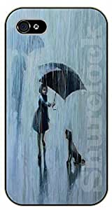 For SamSung Note 3 Case Cover Case Dog and girl under the rain - black plastic case / dog, animals, dogs