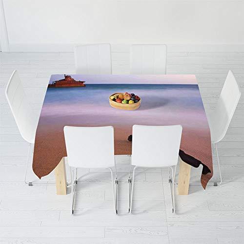 (Custom Tablecloth,Ocean Decor,for Home & Office & Restaurant Table Tea Table,90.2 X 72 Inch,Shipwreck on Beach at Dusk in South)