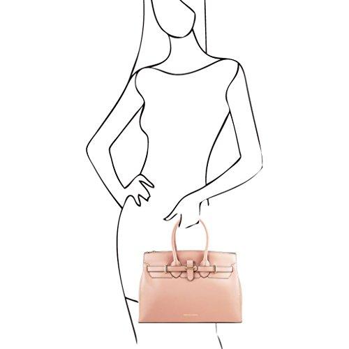 Tuscany Leather Elettra Borsa a mano media in pelle con accessori oro Celeste Nude