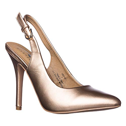 - Riverberry Women's Lucy Pointed-Toe, Sling Back Pump Stiletto Heels, Rose Gold PU, 9