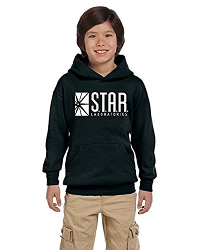 Youth Star Long Sleeve - TheTshack Star Lab Unisex Youth Pullover Hoodie Sweat Shirt (Large(10yrs-12yrs), Black)