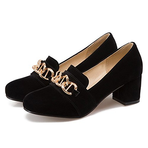 chic yBeauty Women's Mid Block Heel Pumps Slip On Round Toe Loafers Chunky Heel Buckle Flats for Daily Life
