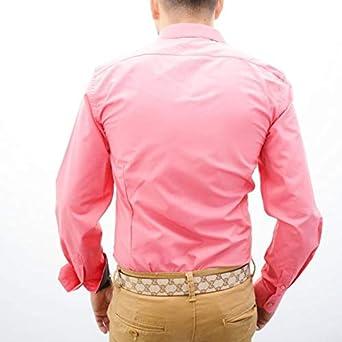 IRMAO Camisa para Hombre Rosa y Negro Slim Fit Rosa Rose: Amazon.es: Ropa y accesorios