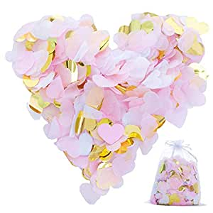 7000 Pieces Paper Confetti Heart Shape Tissue Table Confetti Biodegradable Confetti Decoration 4 Colors