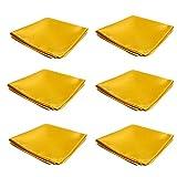 Mens Pocket Squares Handkerchief 6 PK Wedding Party Solid Color Handkerchiefs (Bright Gold)