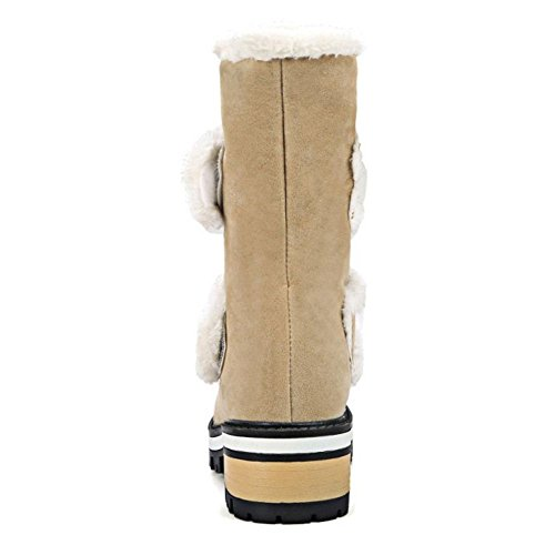 Velcro Damen Gefuttert Warm COOLCEPT Stiefel Beige qU4FcRw