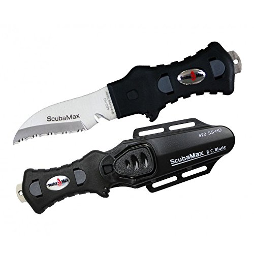 Scubamax Knife (Scubamax Rounded Tip Stainless Steel BC Knife - Black)