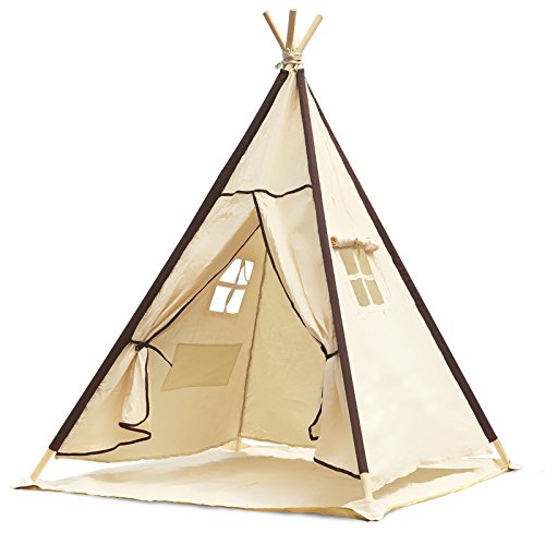 Lavievert Indian Canvas Teepee Children Playhouse Kids Play Tent for Indoor or Outdoor Play – Come with A Water Resistant Bottom Mat (Tent Camping Toy)