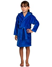 TowelSelections Turkish Cotton Kids Bathrobe Hooded Terry Velour Robe for Boys and Girls Medium Blue