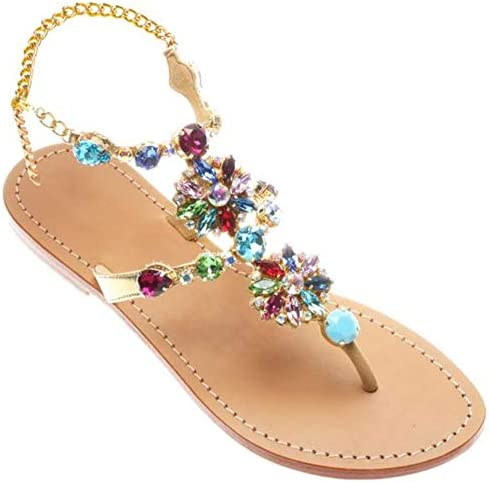 JF shoes Women's Crystal Rhinestone Bohemia Flip Flops