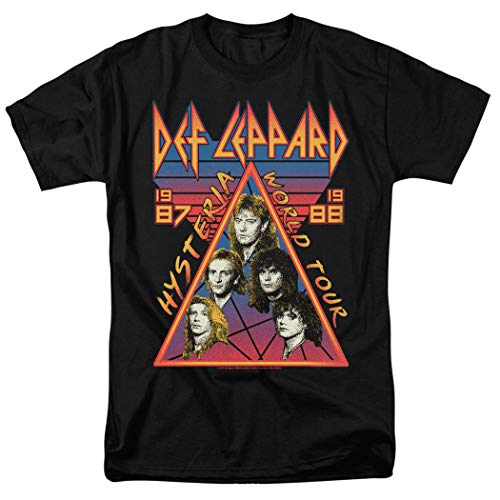Def Leppard Hysteria Tour 80s Rock Music T Shirt & Exclusive Stickers (XXXXX-Large) Black