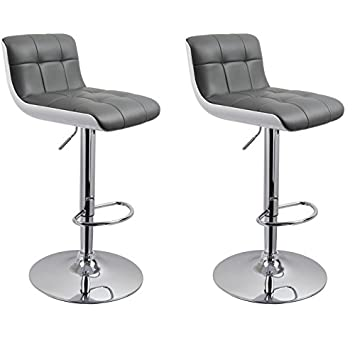 set of 2 bar stool in white grey with unique design height adjustable