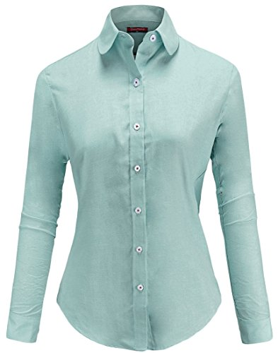 Button Down Collar Oxford Shirt (Dioufond Womens Wrinkle-Free Oxford Long-Sleeve Button Down Shirt Work Wear(5XL(US XXL),Green))