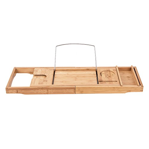 Bamboo Bathtub Caddy Shower Over Tub Tray Organizer with Extendable ...