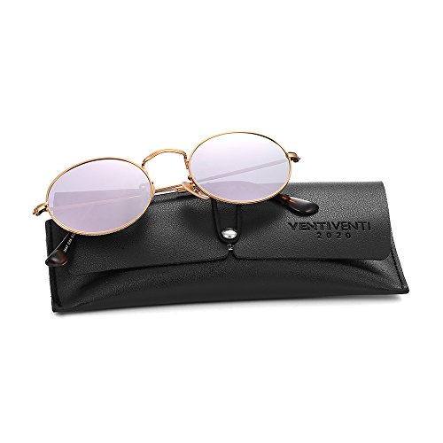 2020Ventiventi Small Metal Polarized Sunglasses for women Mirrored Oval Lens Stainless Steel Frames Purple Revo Colors Glasses Hipster Polygon Style Asymmetry Temple Designer 17032C05