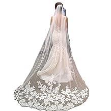 Scarlett 1 Tier Lace Edge Tulle Catherdal Long Wedding Bridal Hair Comb Veil