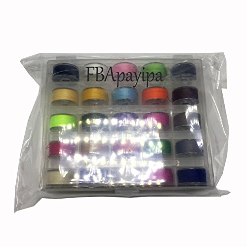 FBApayipa 25Pcs Sewing piece of equipment Bobbins Spools and Assorted Colors Sewing Thread for BrotherJanomeBabylock KenmoreSingerPlastic Transparent storage devices situation Bobbins