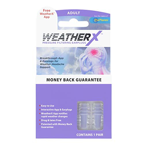 WeatherX Headache Prevention- Pressure Filtering Earplug for Shifts in Barometric Weather Pressure, Download Free Alert app (Regular 1 PK)