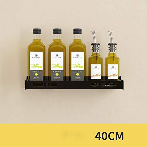 - HUO Kitchen Rack Wall-Mounted Seasoning Storage Rack Black Wall Space Saving Rod (Color : B, Size : 40cm)