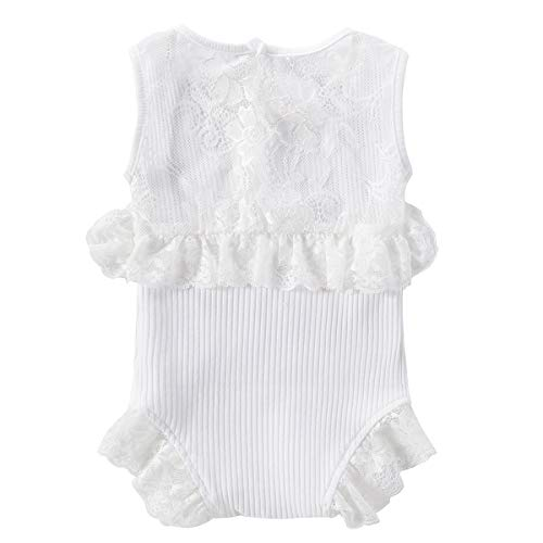 Colorful Childhood Newborn Baby Romper Girls Jumpsuit Infant Bodysuit Tutu Lace Dress Clothes Outfit (6-12 Months, Snow-White)