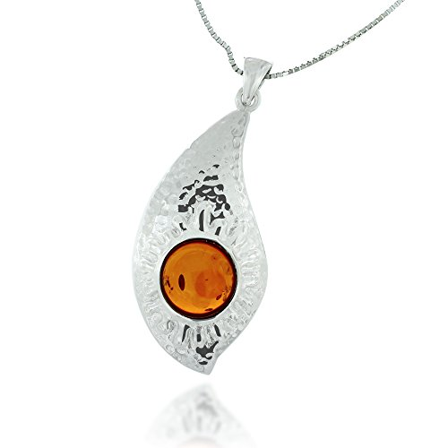 Rhodium Plated 925 Sterling Silver Amber Gemstone Abstract Tear Drop Pendant Necklace, 18 inches