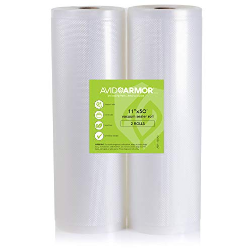 2 Pack 11x50 Rolls Vacuum Sealer Bags for Food Saver, Seal a Meal Vac Sealers Heavy Duty Commercial, BPA Free, Sous Vide Vaccume Safe, Cut to Size Storage Bag 100 Feet Embossed Avid Armor