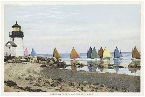 1898 Fine Art - Vintage Postcard Print | The Rainbow Fleet, Nantucket, Mass, 1898 | Historical Antique Fine Art Reproduction
