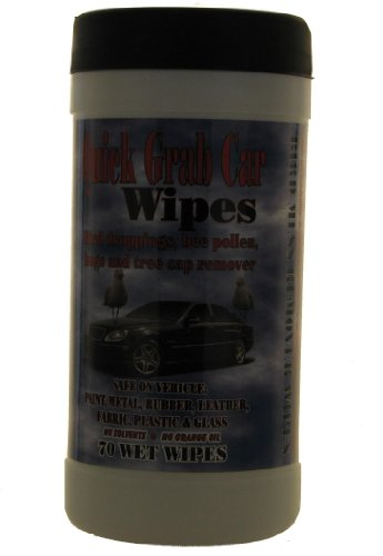 Quick Grab Car Wipe Bug Residue and Tree Sap Remover Wet Wipes, Set of 70