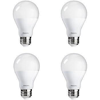 Philips 455717 100 Watt Equivalent A19 LED Light Bulb, Daylight, 4 Pack