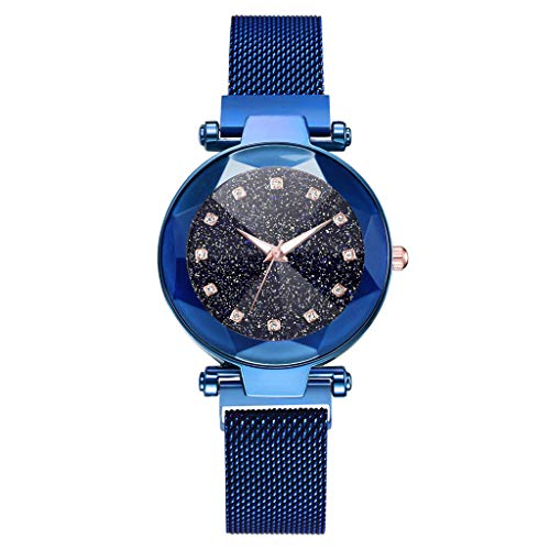 WoCoo Womens Starry Quartz Analog Watch Crystal Convex Dial Wristwatch with Stainless Mesh band Fashion Watches(Purple,Diamond Scales)