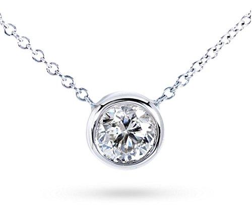 10k Gold Bezel Set Solitaire Diamond Pendant Necklace (.10 cttw, H-I color, I1-I2 clarity) (White)