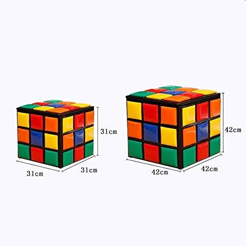 qwqqaq Pouf Contenitore Rubiks Cubo,Ecopelle Sgabello di Stoccaggio Poggiapiedi Sgabello Posto A Sedere Pouf Contenitore Sgabello per Calzature Contenitore di Giocattolo A 31x31x31cm 12x12x12inch