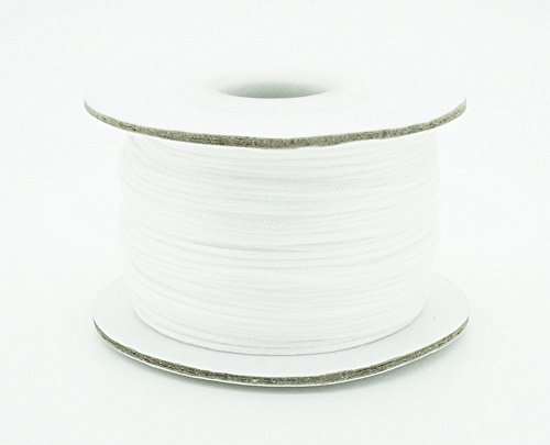 WHITE 0.8mm Chinese Knot Nylon Braided Cord Shamballa Macrame Beading Kumihimo String (50yards Spool)