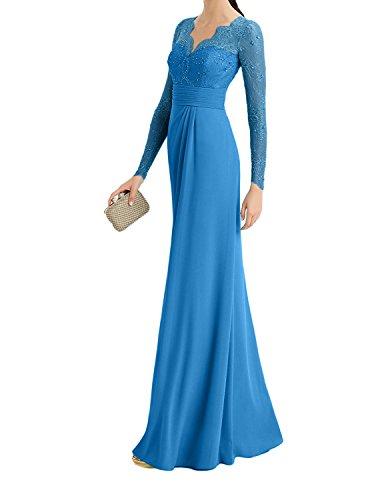 Bodenlang Chiffon Spitze La mia Abendkleider Elegant Festlichkleider Blau Braut Formalkleider standsamt Kleider OSSA7v