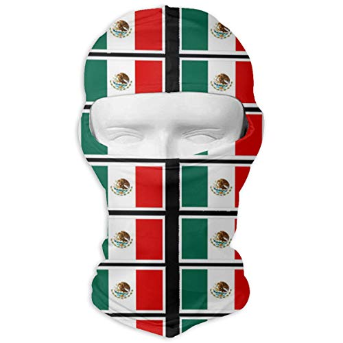 Leopoldson Coloring Pages Mexican Flag Printable Balaclava UV Protection Windproof Ski Face Masks for Cycling Outdoor Sports Full Face Mask Breathable