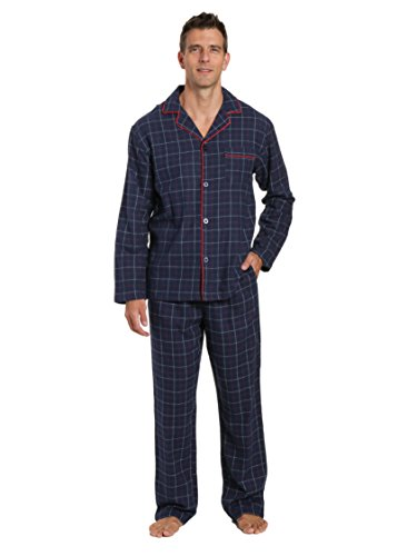 Flannel Plaid Multi - Men's 100% Cotton Flannel Pajama Set - Plaid Navy-Multi - Large