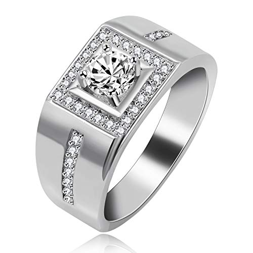 Uloveido Platinum Plated Men Promise Ring with Round Cubic Zirconia Silver Color Men's Jewelry Wedding Engagement Signet Rings (Platinum, Size 7) KR201