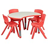 Flash Furniture 25.125''W x 35.5''L Cutout Circle Red Plastic Height Adjustable Activity Table Set with 4 Chairs
