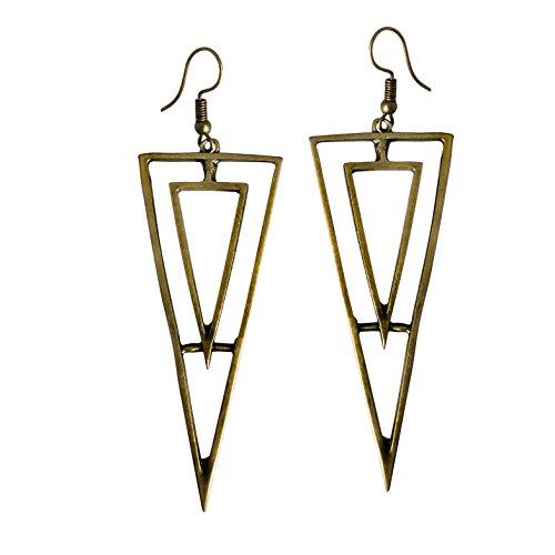 Adeley Womens Bohemian Long Geometric Open Triangle Chevron Brass Charm Dangle Earring