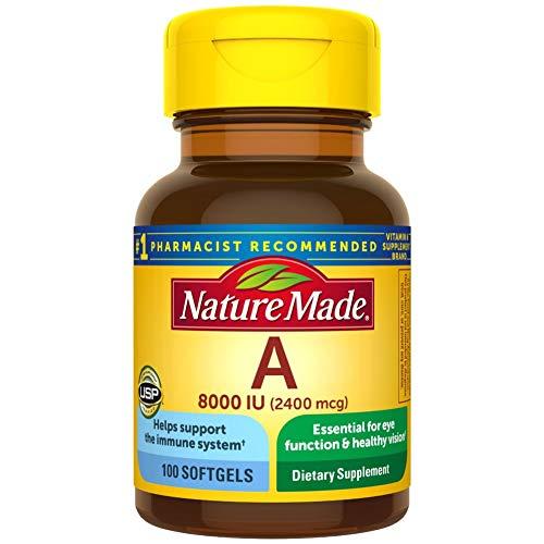 Nature Made Vitamin A 2400 mcg (8000 IU) Softgels 100 Count for Eye Health