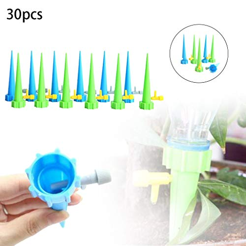 - YunZyun Adjustable Self Watering Spikes, Indoor Outdoor Plastic Bottle Automatic Water Irrigation Slow Release System/Works as Watering Bulbs or Globes Stakes with Screw Valve (Multi)