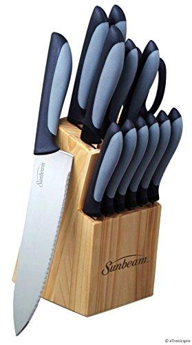 Durant Sunbeam Cutlery Kitchen Knife Knives Set Stainless Steel Pine Wood Block