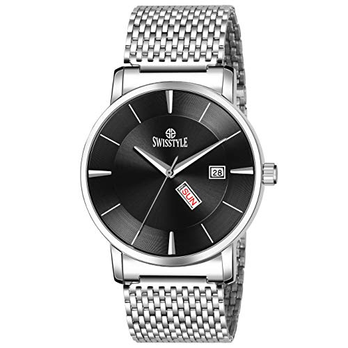 Swisstyle Day and Date Analog Men #39;s Watch SS GR441 BLK CH