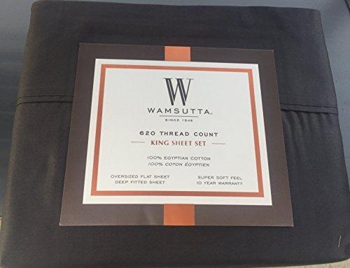 Wamsutta Charcoal Grey King Sheet Set 620 Thread Count Egyptian Cotton (Egyptian Sheets Cotton Wamsutta)