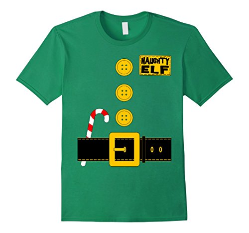 Mens Naughty Elf T-shirt Matching Family Christmas Santa Costume Medium Kelly Green - Mens Naughty Elf Costume