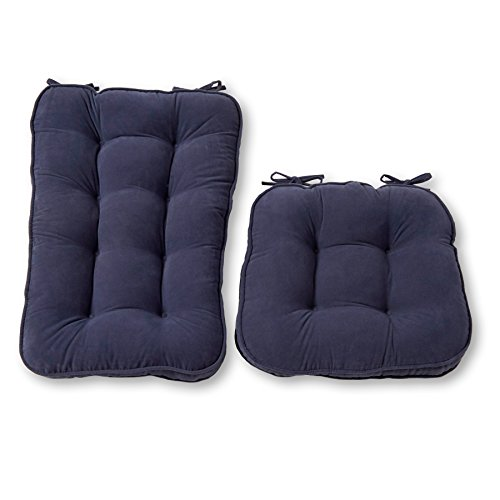 (Greendale Home Fashions Jumbo Rocking Chair Cushion Set Hyatt fabric, Denim)