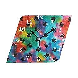 HangWang Wall Clock Colorful Dog Paw Prints Silent Non Ticking Decorative Diamond Digital Clocks Indoor Outdoor Kitchen Bedroom Living Room
