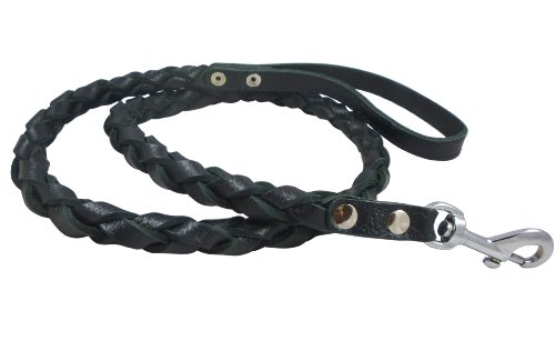Black 4-thong Round Fully Braided Genuine Leather Dog Leash, 4 Ft Long, Large Breeds, My Pet Supplies
