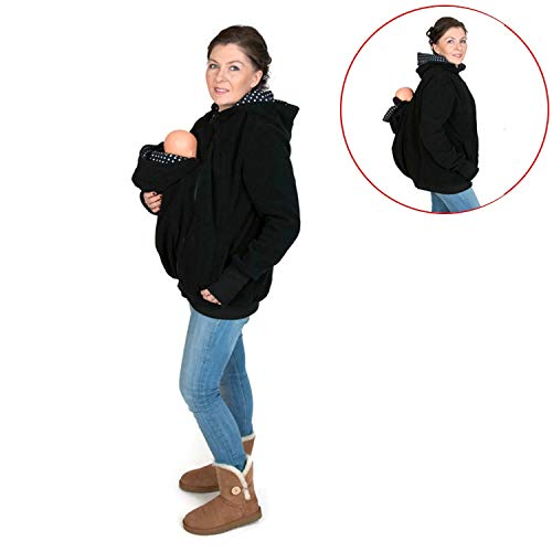 Baby Furniture Baby Nest Bed Three-in-one Multi-Function Mother Kangaroo Zipper Hoodie Coat with Front Cap Size: XXL, Chest: 110-116cm, Waist:91-95cm, Hip: 116-123cm (Black+Red) (Color : Color2) by LUOFUSHENG